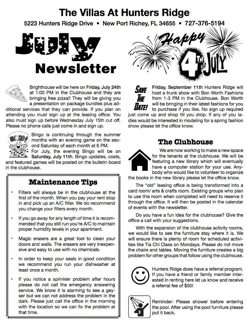 July Newsletter - Hunters Ridge