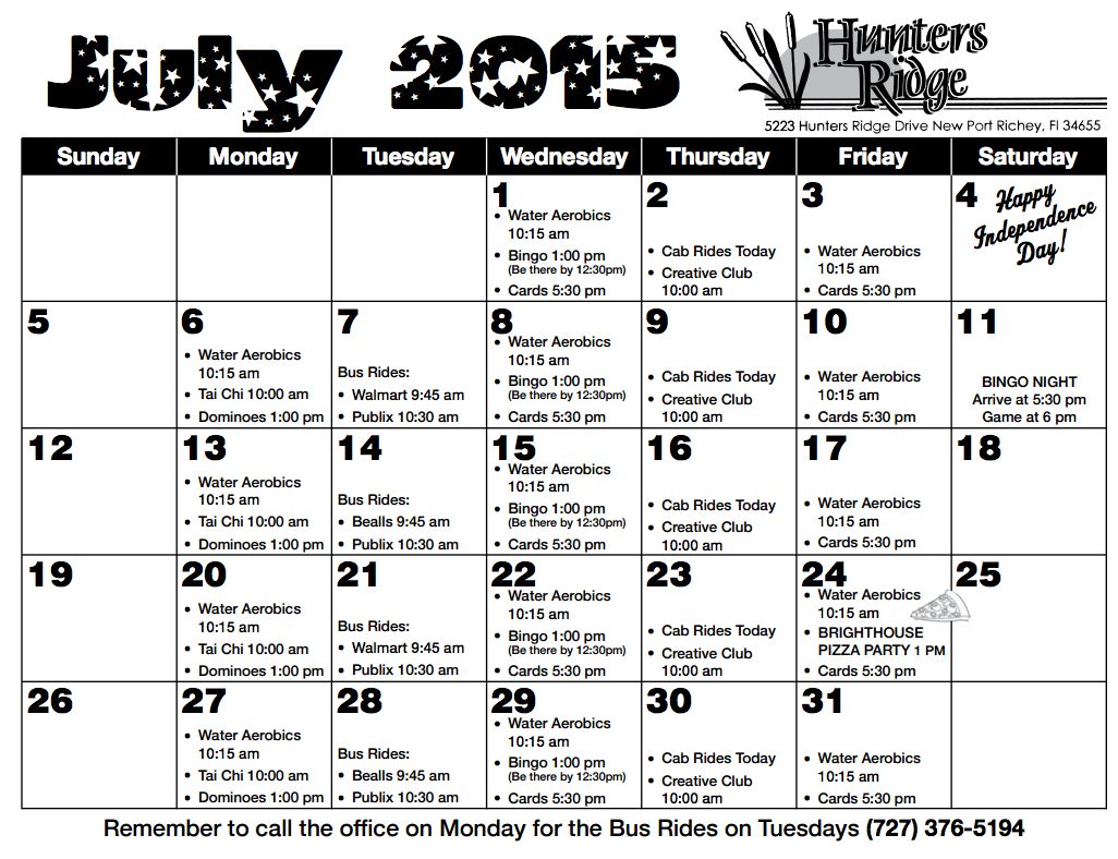 Hunters Ridge July Activity Calendar
