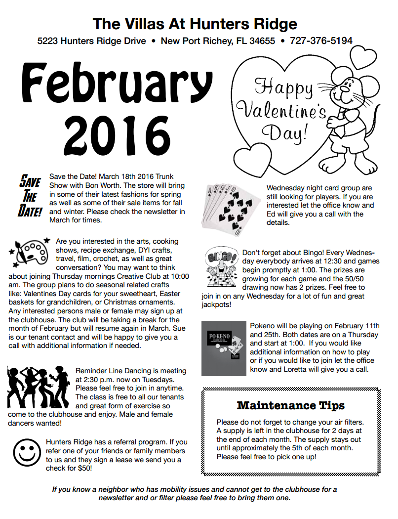 hunters ridge february newsletter