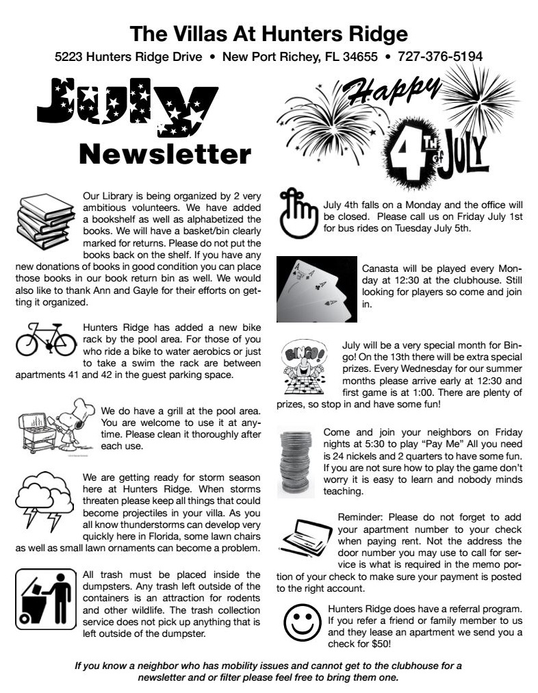 July Newsletter 2016