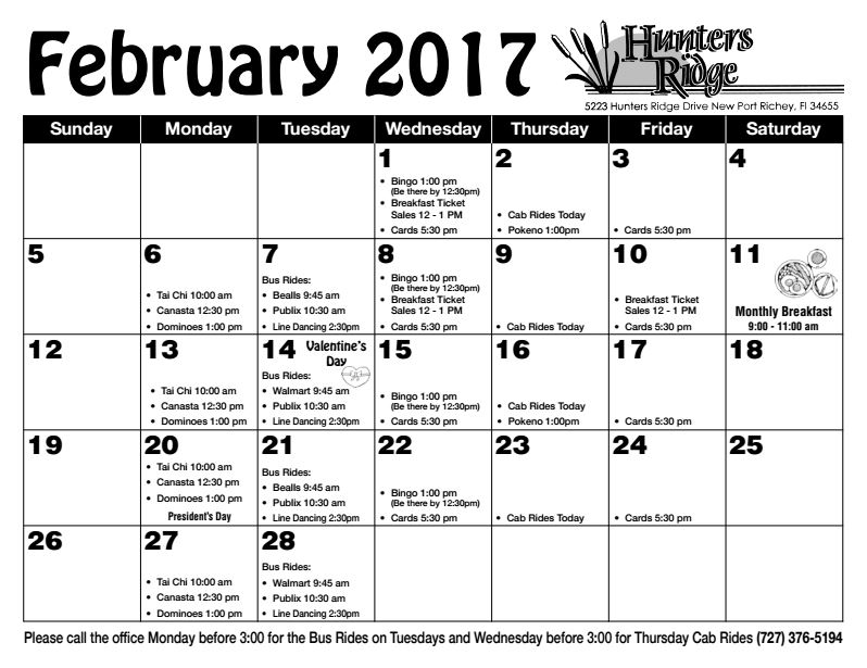 newsletter calendar