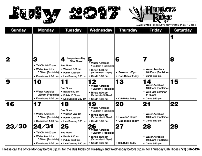 July Newsletter 2017 Calendar