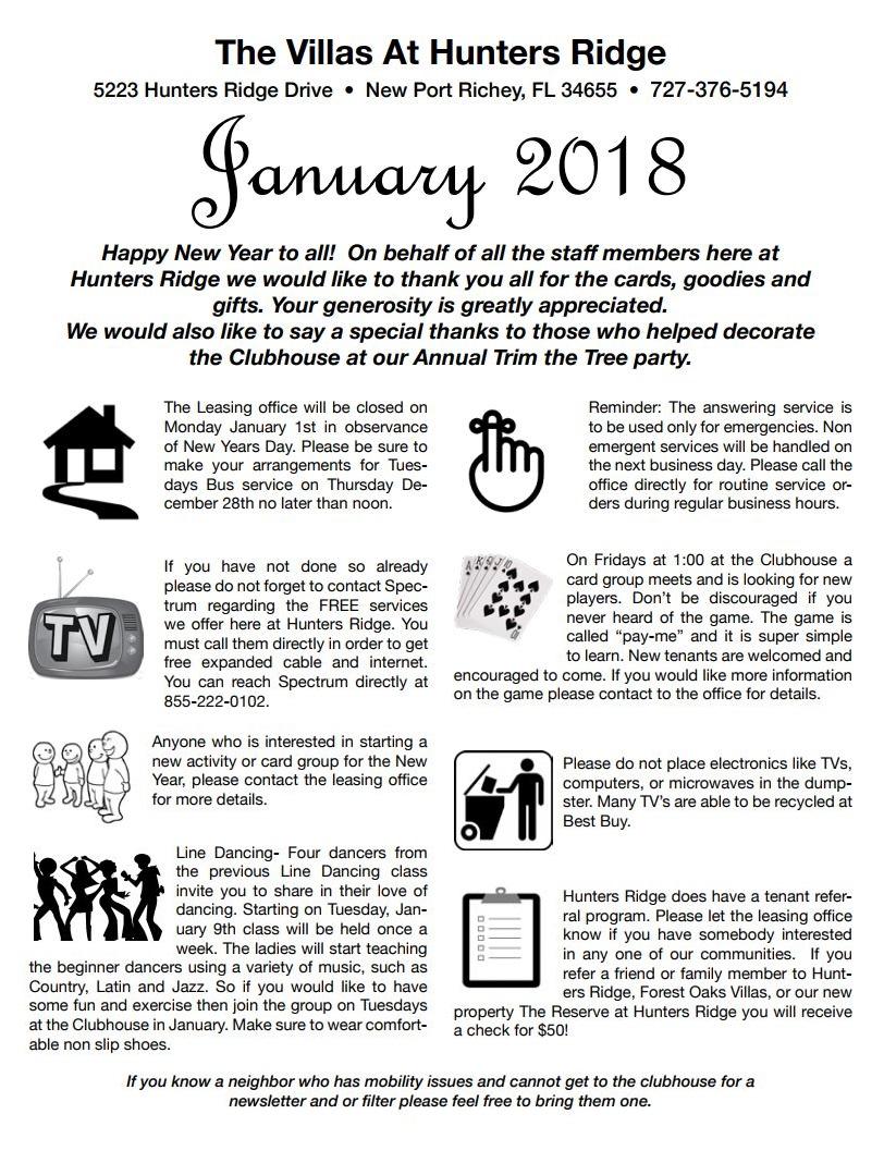 January 2018 Newsletter - Hunter's Ridge