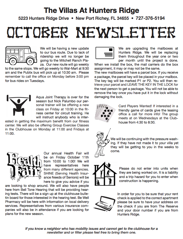 Newsletter - hunters ridge,