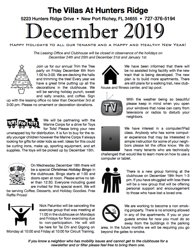 December 2019 Hunters Ridge Newsletter