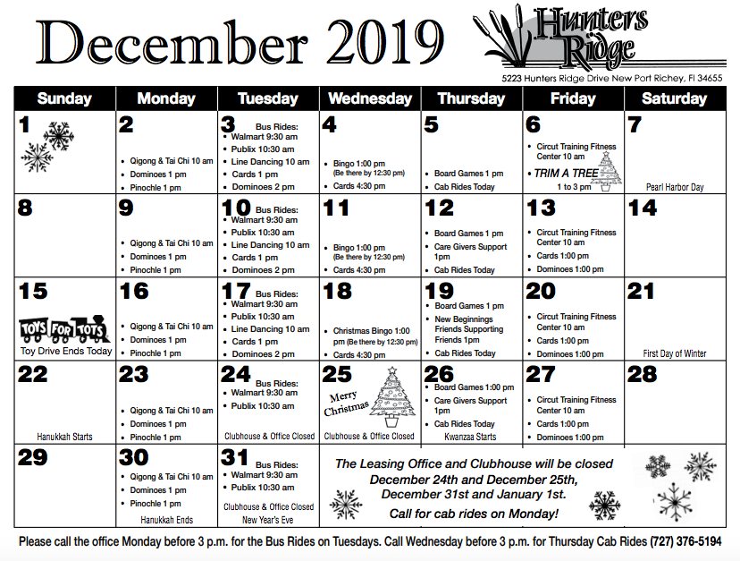 December 2019 Hunters Ridge Activity Calendar