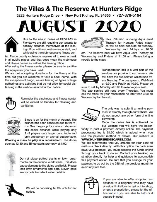 Hunters Ridge Newsletter